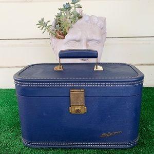 Vintage 1950s Lady Baltimore Royal Blue Train Case